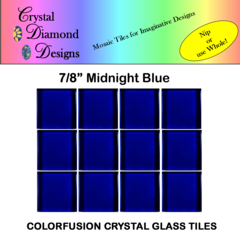 "12 - 7/8"" Midnight Blue Crystal Glass Mosaic Tiles for your Mosaic Designs MIDWH"