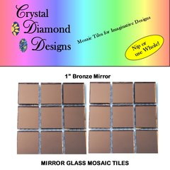 12 - 1 inch Bronze Mirror Glass Mosaic Tiles for your mosaic Designs BROM