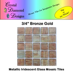 "50 pcs - 3/4"" Bronze Gold Metallic Mosaic Glass Tile for you Mosaic Projects BGMGT"