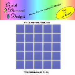 "50 - 3/4"" Venetian Sapphire Sky Blue Glass Mosaic Tiles for your Project SAPSK"