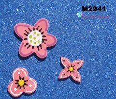 3 Assorted Flowers Handmade Mosaic Tiles M2941