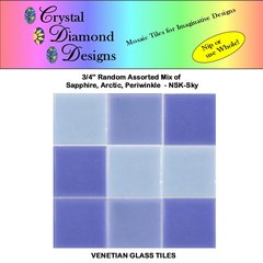 "COPY OF 50 - 3/4"" Venetian Sky Blend Glass Mosaic Tiles for your Project AMOSK"