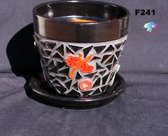 "6"" KOI MOSAIC FLOWER POT - HANDMADE TILES & GLASS Look great in your Home F241"