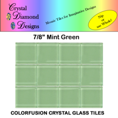 "12  - 7/8"" Mint Green Crystal Glass Mosaic Tiles for your Mosaic Designs MIGREWH"