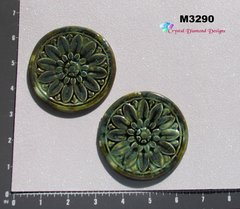 2 Green Element Tiles Handmade Mosaic Ceramic Tiles for your Designs M3290