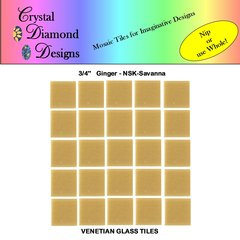 "50 - 3/4"" Venetian Ginger Savanna Glass Mosaic Tiles for your Project GINSA"