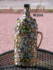Wine Bottle Unique Mosaic Hand Crafted would look Great in your Home W200