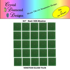"50 - 3/4"" Venetian Basil Meadow Green Glass Mosaic Tiles for your Project BASME"