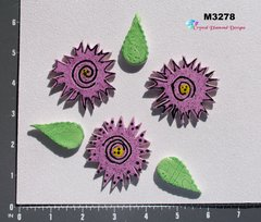 3 Flowers and Leaves Handmade Mosaic Ceramic Tiles for your Projects M3278