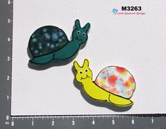 2 Snails Handmade Mosaic Ceramic Tiles For your Projects M3263