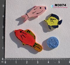 3 Assorted Fish and a Shell Handmade Mosaic Ceramic Tiles M3074