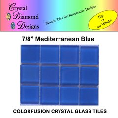 "12 - 7/8"" Mediterranean Blue Crystal Glass Mosaic Tiles for your Mosaic Designs MEDWH"