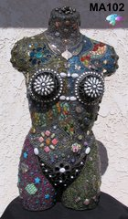 China Girl Mosaic Torso Sculpture Mannequin Hand Design by Artist MA102