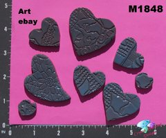 8 Assorted Hearts Handmade Mosaic Ceramic Tiles For your Projects M1848