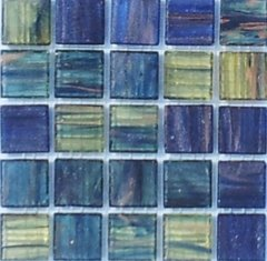 "50 pcs - 3/4"" Vineyard Blues Metallic Mosaic Glass Tile for you Mosaic Projects VIMGT"