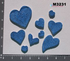 9 Assorted Glitter Hearts Handmade Mosaic Ceramic Tiles For your Projects M3231
