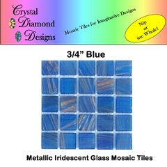 "50 pcs - 3/4"" Blue Metallic Mosaic Glass Tile for you Mosaic Projects BLMGT"