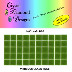 "50 - 3/4"" Leaf Green Vitreous Glass Mosaic Tiles for your Mosaic Projects BB71"