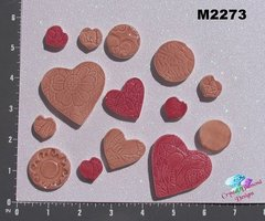 10 Assorted Hearts & 4 Do-Dads Handmade Mosaic Ceramic Tiles For your Projects M2273