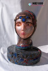Snake Lady Mosaic Art Head Sculpture - One-of-a-Kind Great in your home HE100