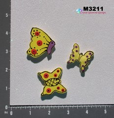 3 Butterflies Kiln Fired Hand Paint Handmade Mosaic Ceramic Tiles for your Mosaic Projects M3211