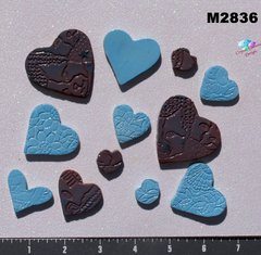 12 Assorted Hearts Handmade Mosaic Ceramic Tiles For your Projects M2836