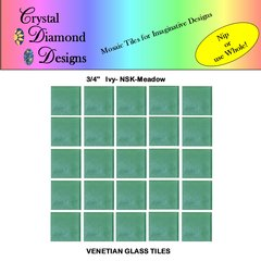 "50 - 3/4"" Venetian Ivy Meadow Green Glass Mosaic Tiles for your Project IVYME"