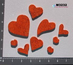 9 Assorted Glitter Hearts Handmade Mosaic Ceramic Tiles For your Projects M3232