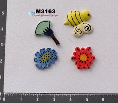 3 Assorted Flowers and a Bee Handmade Mosaic Ceramic Tiles for your Projects M3163