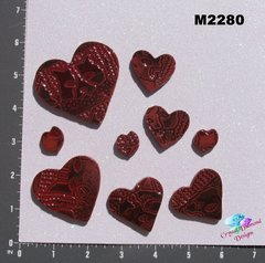 9 Assorted Hearts Handmade Mosaic Ceramic Tiles For your Projects M2280