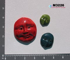 3 Assorted Faces Handmade Mosaic Ceramic Tiles for your Projects M3226