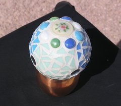 "4"" Gazing Ball with Glass tiles and Handmade Tiles Mosaic Great for your Yard G238"