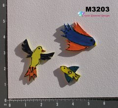 3 Assorted Birds Handmade Mosaic Ceramic Tiles M3203