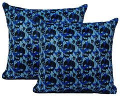 Blue Skulls Pillow Set