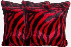 Red Zebra Print Pillow Set