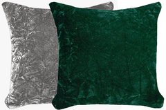 Silver & Emerald Crush Velvet Pillow Set