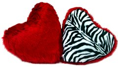 Faux Fur Heart Pillow Set