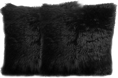 Black Faux Fur Pillow Set