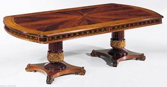 "Regency DINING TABLE Hand Made in ITALY Rosewood Ash Burl Inlays 137"" > 98"" NEW"