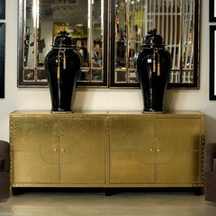Cabinet Modern Art Deco Brass Clad Rivets Antique Maas Style Handmade New