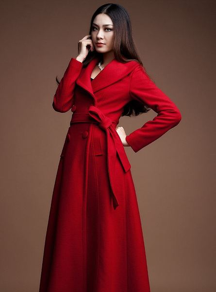 Red Long Coats Red Winter Wool Cashmere Overcoats for Women