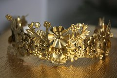 1571 Gold Flower Leaf Metal Baroque Headband