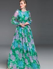 2075 Hydrangea Print Green /maxi Summer Dress