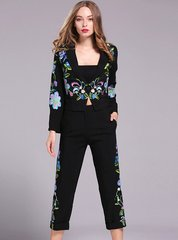 2094 Designer Stunning Embroidery  Crop Pants Black Twinset