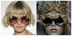 1149 Total Baroque Gold Embellished Curved Lion Sided Sunglasses