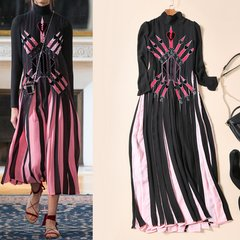 1811 Designer Inspired Trendy Spring 2017 Pleated Mid Cuff Dress