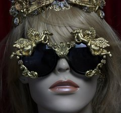 SOLD! 1877 Total Baroque Faced Gold Cherubs Swan Embellished Sunglasses Shades