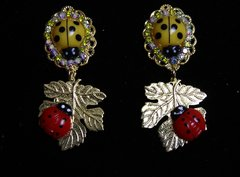 SOLD! 1926 Baroque Yellow Red Ladybug Leaf Studs Earrings