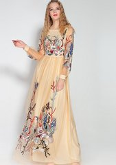 1807 Beautiful Beige Embroidery Sheer Maxi Dress Gown