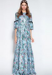 1808 Jacquard Blue Floral Print Russian Style Maxi Dress